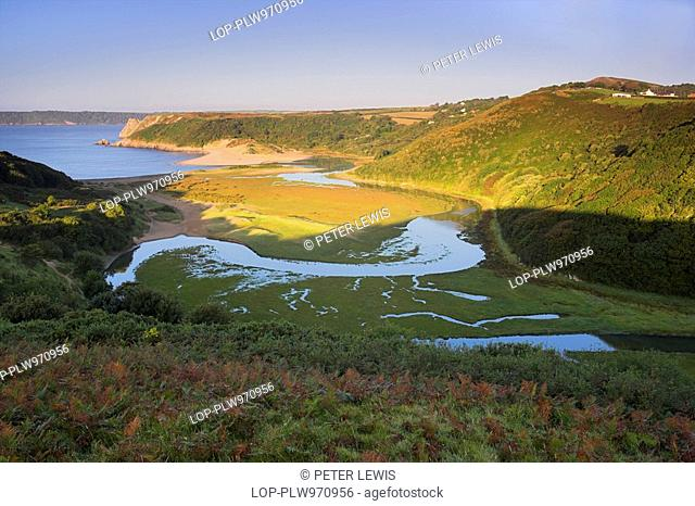 Wales, Swansea, Three Cliffs Bay, Looking across Three Cliffs Bay from Pennard Castle on the Gower Peninsula