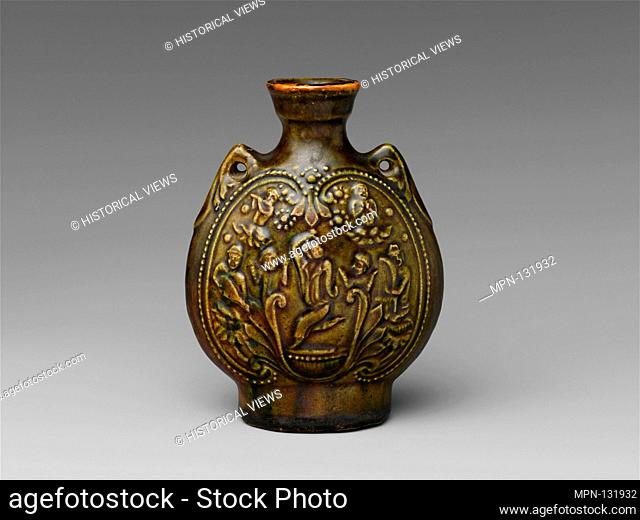 Pilgrim's Flask with Central Asian Dancers. Period: Northern Qi dynasty (550-577); Date: 6th century; Culture: China; Medium: Earthenware with molded decoration...