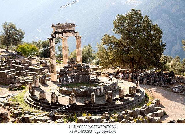 Temple of Athena, Delphi archaeological site, Sterea Hellas, Greece, Europe