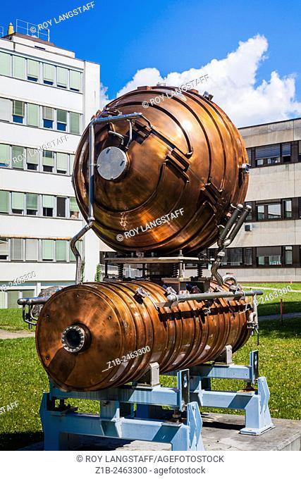 Copper radio frequency generator on display at CERN, Geneva, Switzerland