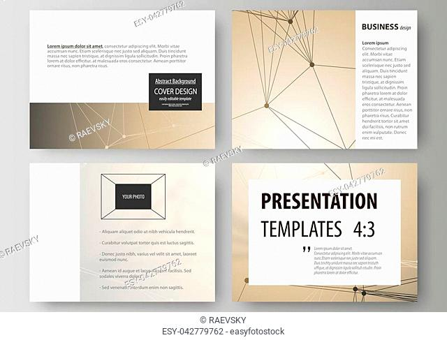 Set of business templates for presentation slides. Easy editable abstract vector layouts in flat design. Technology, science, medical concept
