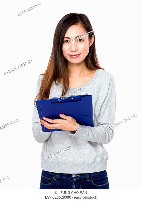 Woman use of file board