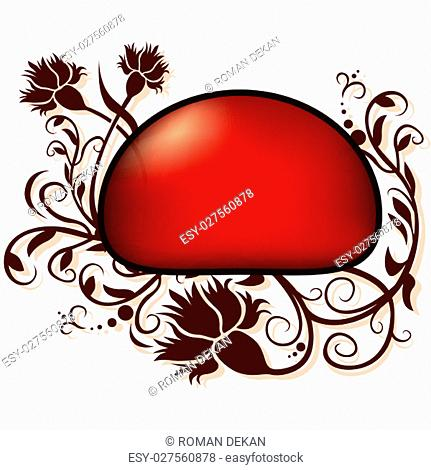 Red Floral Button or Banner - Colored Illustration, Vector