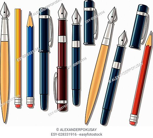 Drawing tools hand drawn color vector illustration