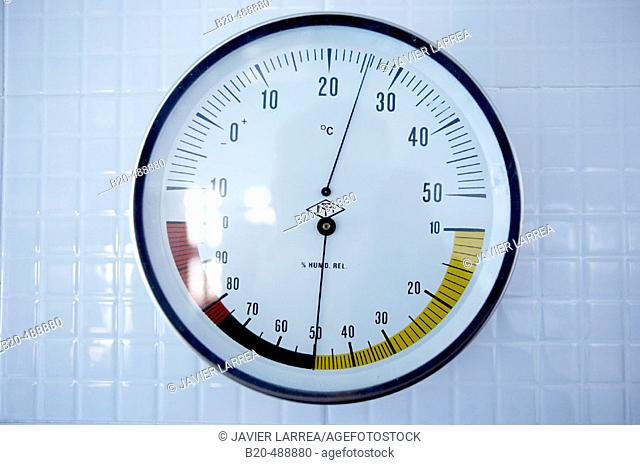 Temperature and humidity gauge. Cestona spa. Gipuzkoa, Euskadi. Spain
