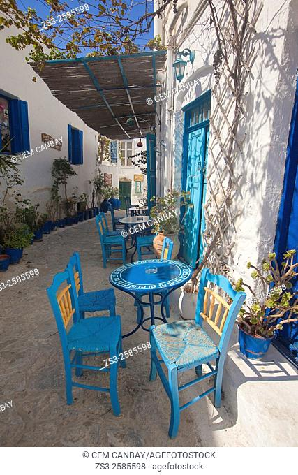 Outdoor cafe at the old town Chora, Amorgos, Cyclades Islands, Greek Islands, Greece, Europe
