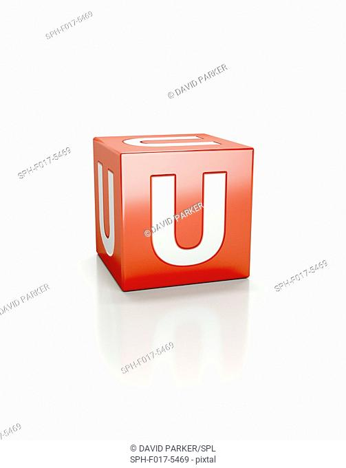 Red cube with letter U