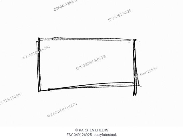Isolated black hand painted pencil frame