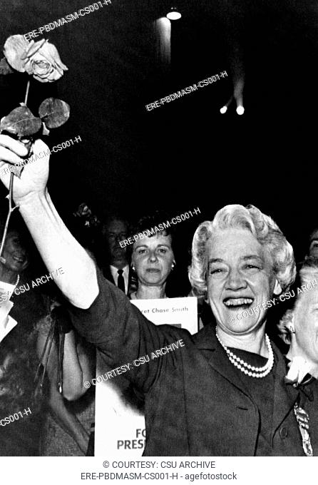 Senator Margaret Chase Smith waves to the crowd after being nomiated for president in 1964. Courtesy: CSU Archives/Everett Colle