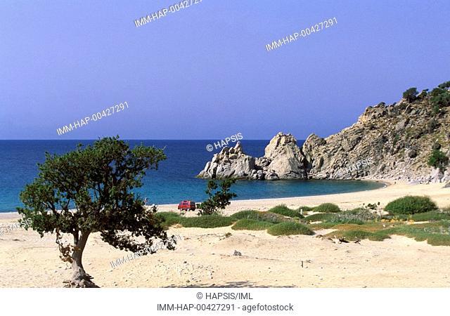 Beach, view, Samothrace, N  E  Aegean, Greece