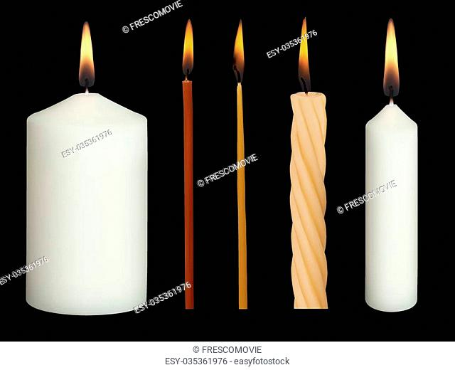 Set of Realistic Vector Candles Isolated on black background