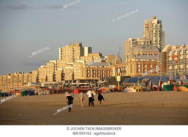 Beach promenade and Kurhaus Hotel, Scheveningen, The Hague, the Netherlands, Europe