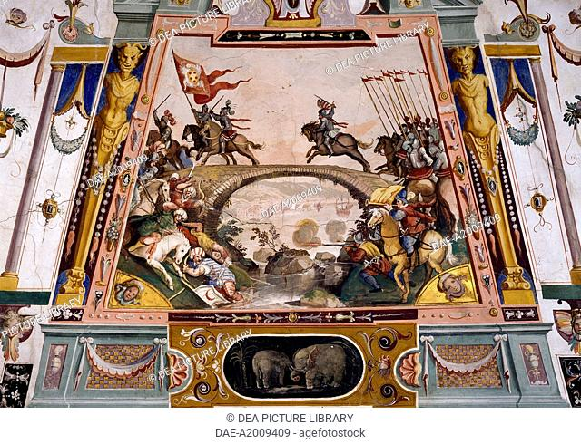 Allied Catholics troops clashing with Muslims, detail from a fresco by Ludovico Buti (1560-1610). Vault of Room 21, Armory, Uffizi Palace, Florence