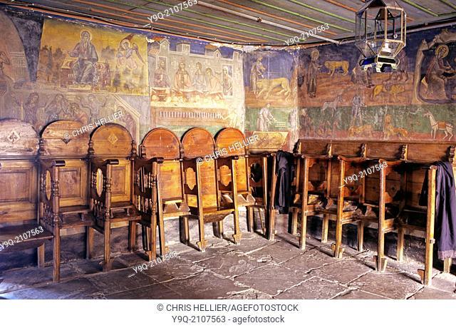 Pews in Narthex Dionysiou Monastery Mount Athos Greece