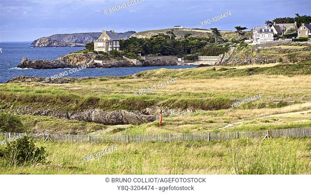 sea view, beach, and stone building in Rotheneuf, ille et vilaine, bretagne, france