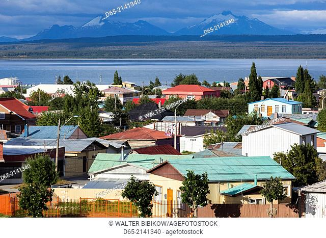 Chile, Magallanes Region, Puerto Natales, Seno Ultima Esperanza bay, elevated town view