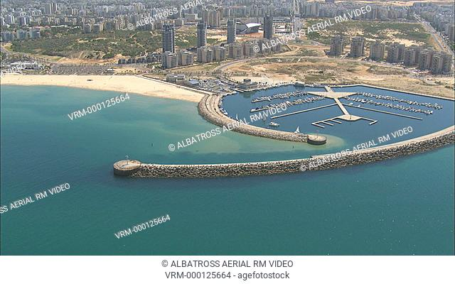 Aerial footage of Ashdod Marina; one of the newest marinas in Israel