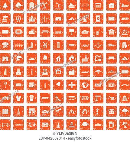 100 landscape element icons set in grunge style orange color isolated on white background vector illustration