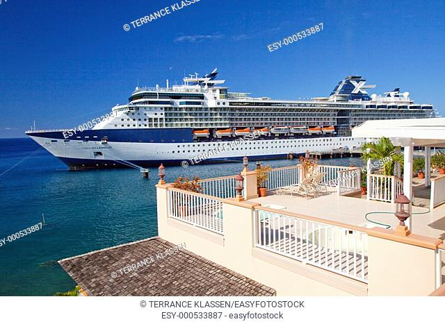 TheCelebritycruise ship Millennium in the port of Roseau, Dominica, West Indies