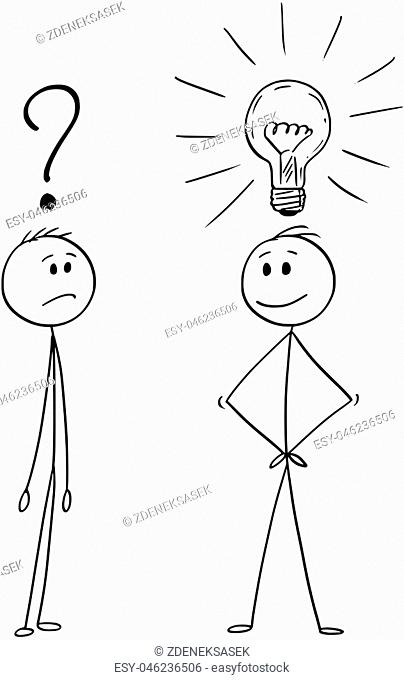Cartoon stick drawing conceptual illustration of two men or businessmen, one of them is unsure with question mark above head