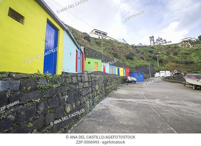 Multi colored houses Porto Formoso beach in Sao Miguel island Azores islands Portugal