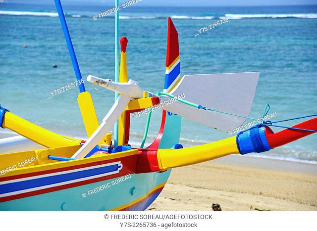 Colorful traditional fishing boat on Sanur beach, Bali, Indonesia, South East Asia