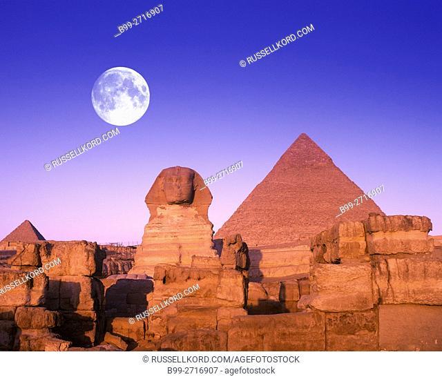 SPHINX CHEPHREN PYRAMID GIZA RUINS CAIRO EGYPT