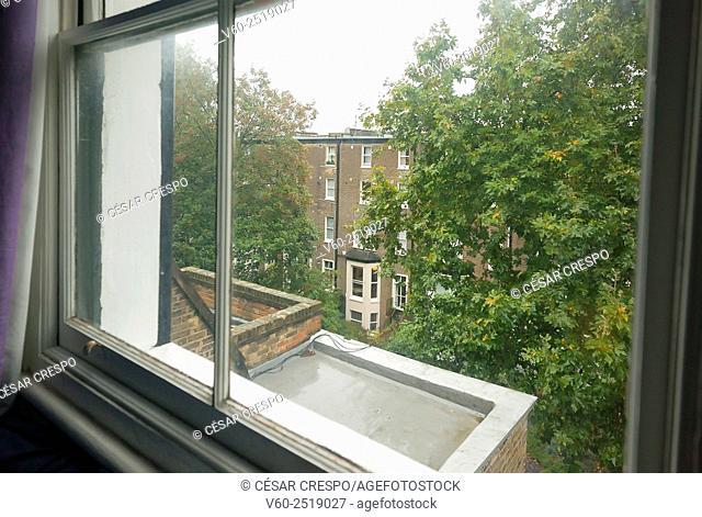 -Looking trough the window in Earl's Court Zone- London United Kingdom