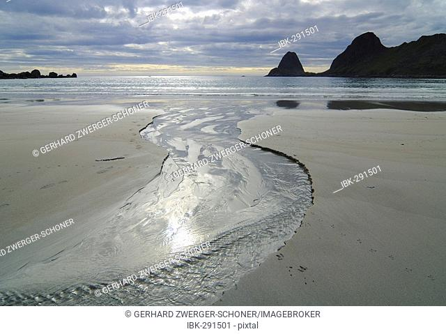Coast area with sandy beach, Austvagoy, Lofoten, Norway, Scandinavia, Europe