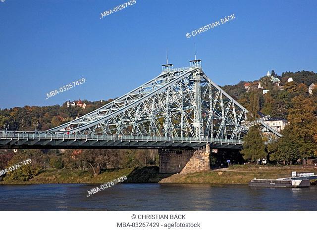 The Elbe bridge 'Blaues Wunder/nasty surprise' between Blasewitz and Loschwitz, Dresden, Saxony, Germany