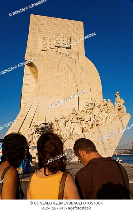 Monument to the Discoverers and 25 April Bridge, in Belem, Lisbon city, next to the mounth of Tagus river in Atlantic Ocean Portugal