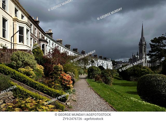 The Crescent Built around 1850,. With St Coleman's Cathedral Beyond, Cobh,. County Cork, Ireland