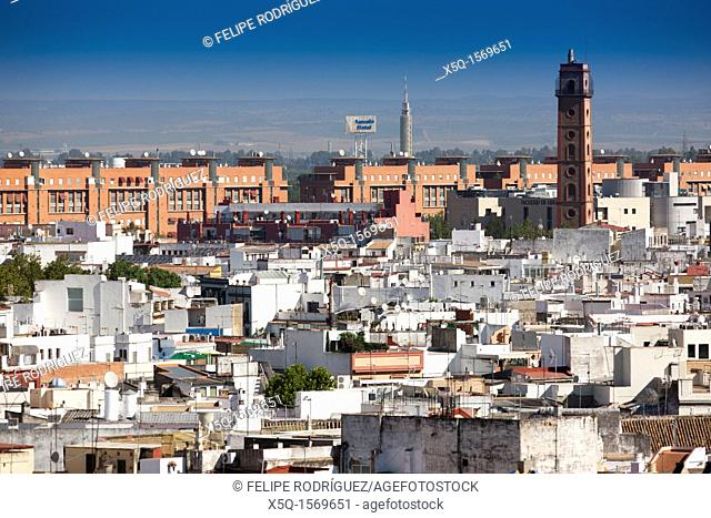 Perdigones tower right and north side of the city center as seen from the top of Metropol Parasol, Seville, Spain