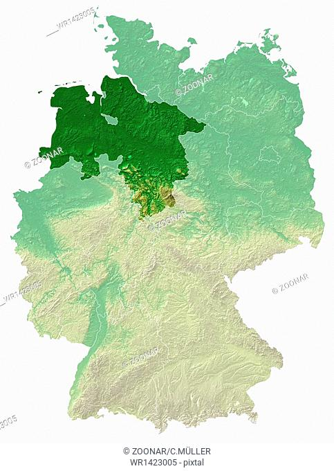 Lower Saxony - topographical relief map Germany