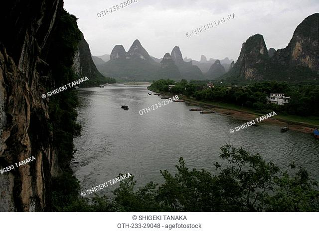 Landscape of Li River and vertical cliff, Xingping, Guilin, China