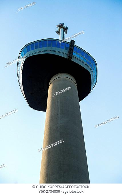 Rotterdam, Netherlands. Landmark, the 1960 build Euromast transmission tower and viewing point at Rotterdam's north shore