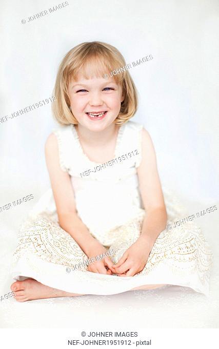 Studio shot of smiling girl