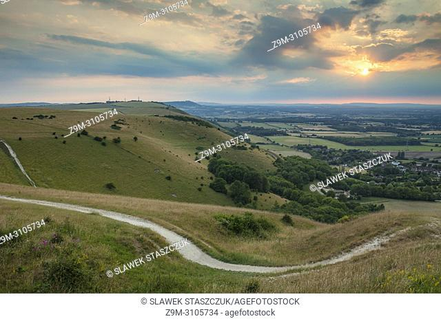 Summer sunset at Devil's Dyke in South Downs National Park, West Sussex, England