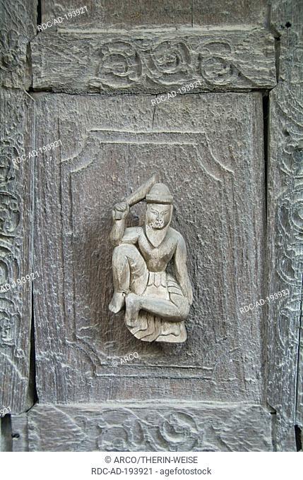 Carved teak figure, Monastery Shwe In Bin Kyaung, Mandalay, Burma, Myanmar