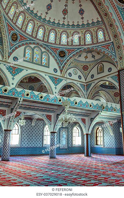 Interior shot of Manavgat mosque in Antalya, Turkey