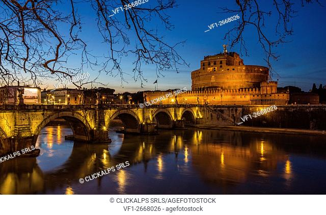 Rome, Lazio, Italy. Castle St. Angelo in the blue hour