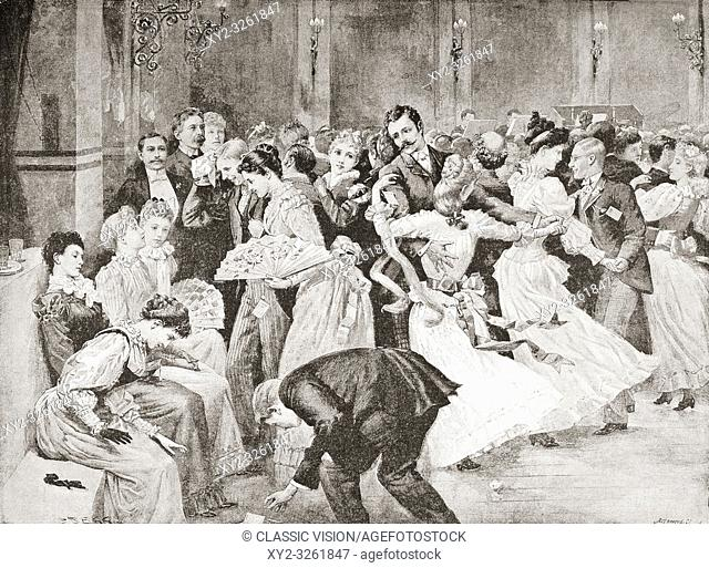 English customs. A dance in London, England in the 19th century. From La Ilustracion Artistica, published 1887