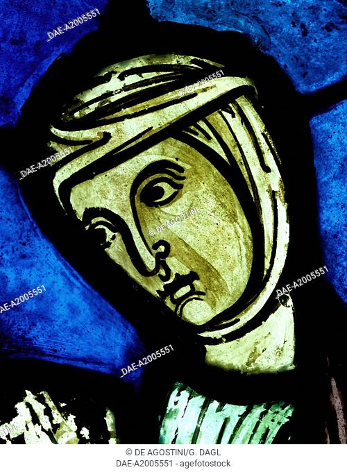 The face of St Eutropia, detail from History of St Nicasius and his sister St Eutropia, 1210-1220, stained-glass, Soissons Cathedral, Picardy