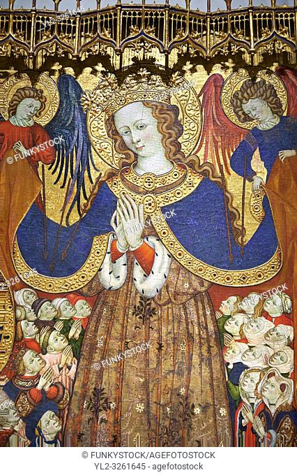 Gothic Catalan altar piece depicting the Madonna of Mercy by Bonant Zaortiga, circa 1430-1440, tempera and gold leaf on wood