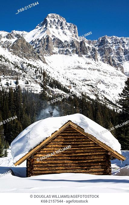 The Elizabeth Parker hut at Lake O'Hara in Yoho National Park, BC, Canada, in winter