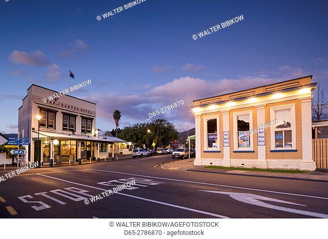 New Zealand, North Island, Coromandel Peninsula, Coromandel Town, Star and Garter Hotel and Assay House, dusk