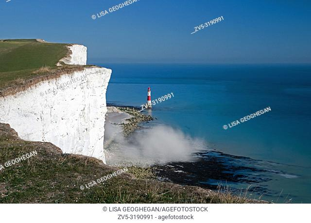 Cliff fall creating dust cloud at Beachy Head Lighthouse, Eastbourne, East Sussex, England, Uk