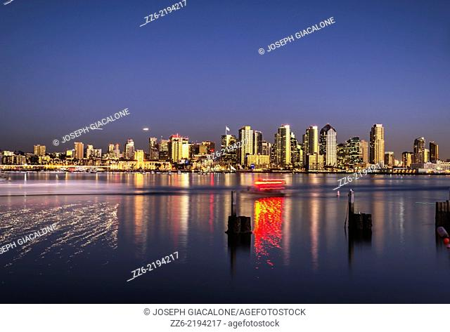 San Diego Downtown Skyline and Harbor viewed at night. San Diego, California, United States