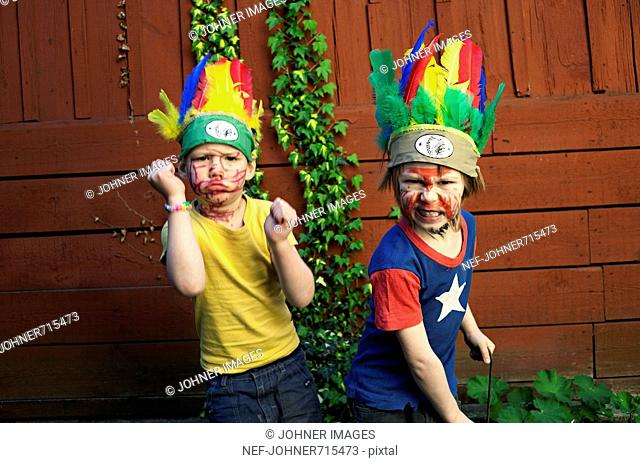 Boys playing dressed up as Indians, Sweden