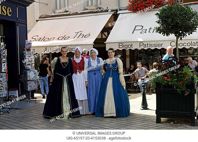 Amboise France For women in period costume walking in the old town